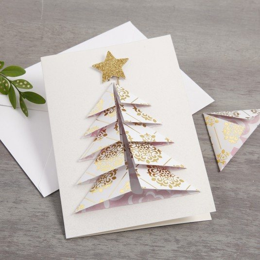 A Christmas Card with a 3D Christmas Tree