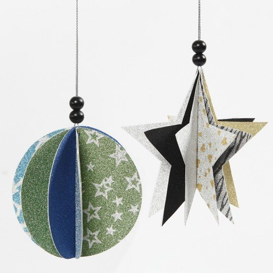 Paper Hanging Decorations with Glitter