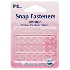 Sew On Snap Fasteners: Clear (Invisible) - 7mm