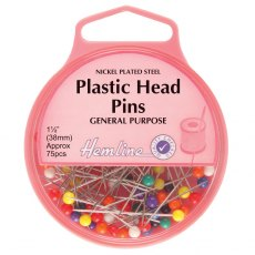 Plastic Head Pins: 0.58mm x 38mm, Approx 75pcs