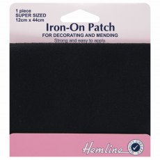 Iron on patches: 2 pieces 10cm x 15cm - Black