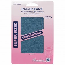 Iron on patches: 2 pieces 10cm x 15cm - Mid Denim