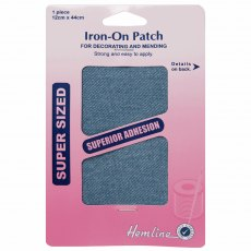 Iron on patches: 2 pieces 10cm x 15cm - Light Denim