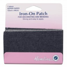 Iron on patches: 2 pieces 10cm x 15cm - Dark Denim