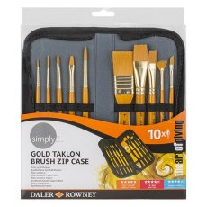 Daler Rowley Natural Gold Taklon Brush Zip Case - 10 Pieces