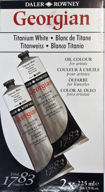 Daler Rowney Georgian Oil Paint - Titanium White 225 ml - TWIN PACK